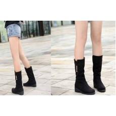 รองเท้าบูท แฟชั่นเกาหลี สไตล์หนังกลับสวยใส่สบาย นำเข้า สีดำ - พรีออเดอร์HS129-9 ราคา1750บาท