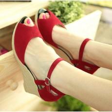 รองเท้าส้นตึก แฟชั่นเกาหลี สวยใหม่เที่ยวใส่ทำงานสบาย นำเข้า สีแดง - พรีออเดอร์HS161-7 ราคา1350บาท