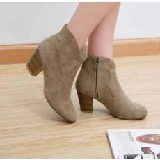 รองเท้าส้นสูง แฟชั่นเกาหลี สวยกึ่งบู๊ทหนังแท้ นำเข้า สีเบจ - พรีออเดอร์HS163-8 ราคา1990บาท