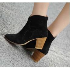รองเท้าส้นสูง แฟชั่นเกาหลี สวยกึ่งบู๊ทหนังแท้ นำเข้า สีดำ - พรีออเดอร์HS163-8 ราคา1990บาท
