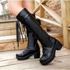 รองเท้าบู๊ท ส้นหนาหัวกลมมนแฟชั่นเกาหลี นำเข้า ไซส์34-39 สีดำ - พรีออเดอร์HS166-6 ราคา1750บาท