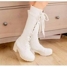 รองเท้าบู๊ท ส้นหนาหัวกลมมนแฟชั่นเกาหลี นำเข้า ไซส์34-39 สีขาว - พรีออเดอร์HS166-6 ราคา1750บาท