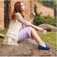 รองเท้าส้นเตี้ย หนังกลับแฟชั่นเกาหลีใหม่เพื่อสุขภาพ นำเข้า สีน้ำเงิน - พรีออเดอร์HS167-9 ราคา1285บาท [หมดค่ะ]