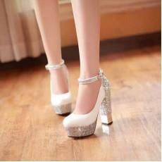 รองเท้าส้นสูง แฟชั่นเกาหลีมีกากเพชรออกงาน นำเข้าไซส์34ถึง39 สีขาว - พรีออเดอร์HS171-6 ราคา1990บาท