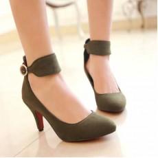 รองเท้าส้นสูง แฟชั่นเกาหลีหนังกลับสวยชิค นำเข้าไซส์34ถึง39 สีเขียว - พรีออเดอร์HS173-7 ราคา1550บาท