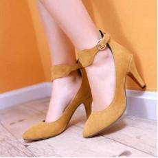รองเท้าส้นสูง แฟชั่นเกาหลีหนังกลับสวยชิค นำเข้าไซส์34ถึง39 สีเหลือง - พรีออเดอร์HS173-7 ราคา1550บาท