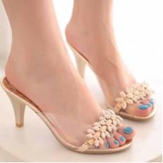 รองเท้าส้นสูง แฟชั่นเกาหลีแต่งดอกไม้รองเท้าแก้ว นำเข้าไซส์34ถึง39 - พรีออเดอร์HS176-0 ราคา1600บาท