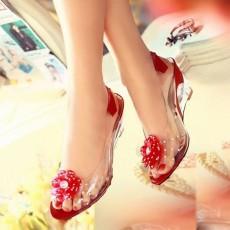 รองเท้าแก้ว ส้นสูงแฟชั่นเกาหลีสวยหรูหราแต่งดอกไม้แก้ว นำเข้า สีแดง - พรีออเดอร์HS9099 ราคา1450บาท