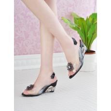รองเท้าแก้ว ส้นสูงแฟชั่นเกาหลีสวยหรูหราแต่งดอกไม้แก้ว นำเข้า สีดำ - พรีออเดอร์HS9099 ราคา1450บาท