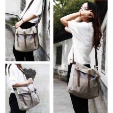 กระเป๋าสะพายข้าง แฟชั่นเกาหลีผ้าคานวาสใบใหญ่เที่ยวเดินทางใช้ได้ทั้งชายหญิง นำเข้า สีเทา - พร้อมส่งIS1013 ราคา490บาท