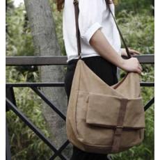 กระเป๋าสะพายข้าง แฟชั่นเกาหลีผ้าคานวาสใบใหญ่เที่ยวเดินทางใช้ได้ทั้งชายหญิง นำเข้า สีน้ำตาล - พร้อมส่งIS1012 ราคา670บาท