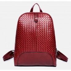 กระเป๋าเป้ สะพายหลังลายหนังสานแฟชั่นเกาหลีผู้หญิงรุ่นใหม่ล่าสุดหนังดีมาก นำเข้า สีแดง - พร้อมส่งIS1014 ราคา990บาท