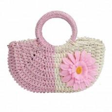 กระเป๋าสาน แฟชั่นเกาหลีสวยน่ารักมาก Pink Sunflower String Woven Bag นำเข้า สีชมพู - พร้อมส่งIS1017 ราคา500บาท