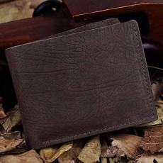 กระเป๋าสตางค์สั้น หนังแท้แฟชั่นผู้ชายแนววินเทจบางสวยเท่ใส่บัตรได้เยอะ นำเข้า สีกาแฟ  - พรีออเดอร์IS1022 ราคา1800บาท