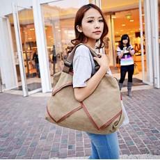 กระเป๋าสะพายผ้า แฟชั่นเกาหลีผู้หญิงแต่งหนังใบใหญ่มีสายยาวใส่ของได้3ช่อง นำเข้า สีกากี - พร้อมส่งIS1026 ราคา1150บาท
