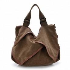 กระเป๋าสะพายผ้า แฟชั่นเกาหลีผู้หญิงแต่งหนังใบใหญ่มีสายยาวใส่ของได้3ช่อง นำเข้า สีกาแฟ - พรีออเดอร์IS1026 ราคา1250บาท
