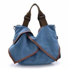 กระเป๋าสะพายผ้า แฟชั่นเกาหลีผู้หญิงแต่งหนังใบใหญ่มีสายยาวใส่ของได้3ช่อง นำเข้า สีฟ้า - พรีออเดอร์IS1026 ราคา1250บาท