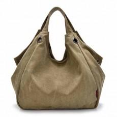 กระเป๋าสะพายผ้า แฟชั่นเกาหลีผู้หญิงวินเทจใบใหญ่มีสายยาวใส่ของได้3ช่อง นำเข้า สีกากี - พร้อมส่งIS1027 ราคา1100บาท