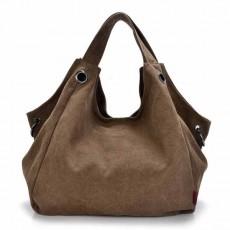 กระเป๋าสะพายผ้า แฟชั่นเกาหลีผู้หญิงวินเทจใบใหญ่มีสายยาวใส่ของได้3ช่อง นำเข้า สีน้ำตาล - พร้อมส่งIS1027 ราคา1100บาท