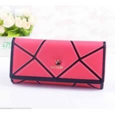 กระเป๋าสตางค์ผู้หญิง แบบยาว2พับมี3ช่องใหญ่1ช่องซิป5บัตรแฟชั่นเกาหลี นำเข้า สีแดง - พร้อมส่งIS1034 ราคา550บาท