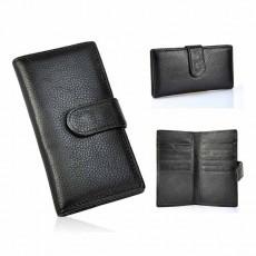 กระเป๋าสตางค์ผู้หญิง ใบยาว2พับหนังแท้แฟชั่นเกาหลี Genuine Leather Wallet นำเข้า สีดำ - พร้อมส่งIS1037 ราคา1050บาท