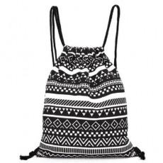 กระเป๋าเป้ผ้า ย่ามสะพายหลังหูรูดแฟชั่นเกาหลีน่ารักแบบผู้หญิงลายกราฟิก นำเข้า สีขาวดำ- พร้อมส่งIS1056 ราคา350บาท
