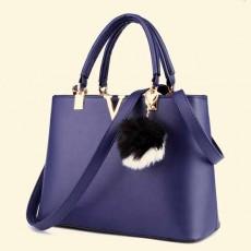 กระเป๋าหนังทำงาน พร้อมพวงกุญแจขนเฟอร์ทั้งสะพายและถือแฟชั่นใหม่ นำเข้า สีน้ำเงิน - พรีออเดอร์IS1068 ราคา1450บาท