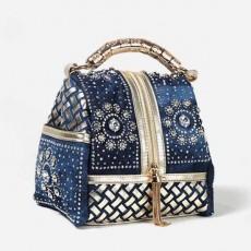 กระเป๋าหนังแท้ผู้หญิง หนังสานเดนิมถือหรูมีสายสะพายยาวแฟชั่น นำเข้าพิเศษ สีน้ำเงิน - พรีออเดอร์IS1070  ราคา4900บาท