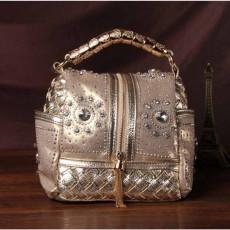 กระเป๋าหนังแท้ผู้หญิง หนังสานเดนิมถือหรูมีสายสะพายยาวแฟชั่น นำเข้าพิเศษ สีทอง - พรีออเดอร์IS1070  ราคา4900บาท