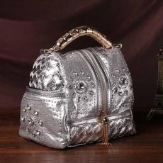 กระเป๋าหนังแท้ผู้หญิง หนังสานเดนิมถือหรูมีสายสะพายยาวแฟชั่น นำเข้าพิเศษ สีเงิน - พรีออเดอร์IS1070  ราคา4900บาท