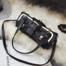 กระเป๋าหนังใบเล็กแฟชั่นเกาหลี ถือได้แบบวินเทจคลัทช์และมีสายสะพายยาว นำเข้า สีดำ - พรีออเดอร์IS1071 ราคา1350บาท