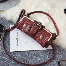 กระเป๋าหนังใบเล็กแฟชั่นเกาหลี ถือได้แบบวินเทจคลัทช์และมีสายสะพายยาว นำเข้า สีแดง - พรีออเดอร์IS1071 ราคา1350บาท
