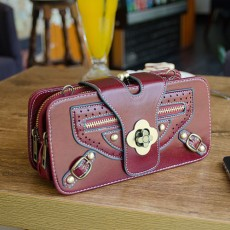 กระเป๋าหนังใบเล็กแฟชั่นเกาหลี ถือได้แบบวินเทจคลัทช์และมีสายสะพายยาว นำเข้า สีแดง - พรีออเดอร์IS1072 ราคา1350บาท
