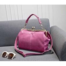 กระเป๋าสะพาย แฟชั่นเกาหลีผู้หญิงหนังกลับวินเทจถือสายสั้นหรูแบบใหม่น่ารัก นำเข้า สีชมพูอมม่วง - พรีออเดอร์IS505 ราคา900บาท