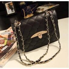 กระเป๋าสะพายข้าง แฟชั่นเกาหลี สวยใบเล็กใช้ออกงานสายโซ่ นำเข้า สีดำ - พรีออเดอร์IS955 ราคา830บาท