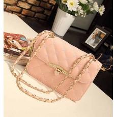 กระเป๋าสะพายข้าง แฟชั่นเกาหลี สวยใบเล็กใช้ออกงานสายโซ่ นำเข้า สีชมพู - พรีออเดอร์IS955 ราคา830บาท