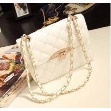 กระเป๋าสะพายข้าง แฟชั่นเกาหลี สวยใบเล็กใช้ออกงานสายโซ่ นำเข้า สีขาว - พรีออเดอร์IS955 ราคา830บาท