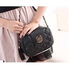 กระเป๋าออกงาน แฟชั่นเกาหลีใบเล็กสายโซ่ นำเข้า สีดำ - พรีออเดอร์IS966 ราคา830บาท [หมดค่ะ]