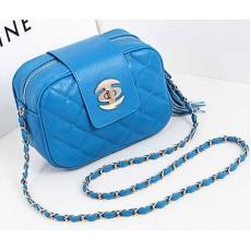 กระเป๋าออกงาน แฟชั่นเกาหลีใบเล็กสายโซ่ นำเข้า สีฟ้า - พรีออเดอร์IS966 ราคา830บาท [หมดค่ะ]