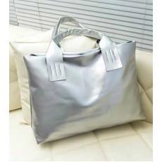 กระเป๋าแฟชั่น สวยแนววินเทจใบใหญ่แบบเกาหลี นำเข้า สีเทาเงิน - พร้อมส่งIS970 ราคา790บาท[หมดค่ะ]