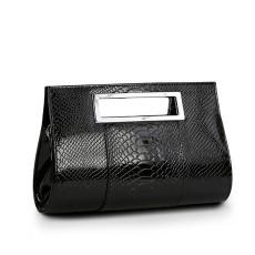 กระเป๋าถือ แฟชั่นเกาหลีแบบกระเป๋าคลัชมีสายสะพายยาวหรูมาก นำเข้า สีดำ - พร้อมส่งIS986 ราคา850บาท [หมดค่ะ]