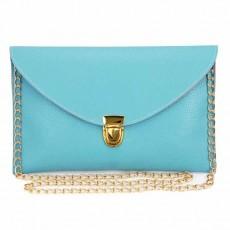 กระเป๋าสะพาย กระเป๋าถือแฟชั่นเกาหลีสายโซ่เก็บได้เก๋มาก นำเข้า สีฟ้า - พร้อมส่งIS990 ราคาถูก100ลดพิเศษ