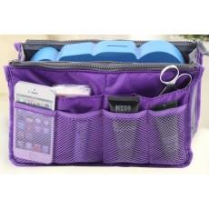 กระเป๋าจัดระเบียบ ช่องเยอะถือได้สไตล์แฟชั่นเกาหลีรุ่นใหม่ นำเข้า สีม่วง - พร้อมส่งIS997 ราคา220บาท