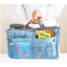 กระเป๋าจัดระเบียบ ช่องเยอะถือได้สไตล์แฟชั่นเกาหลีรุ่นใหม่ นำเข้า สีฟ้า - พร้อมส่งIS997 ราคา350บาท