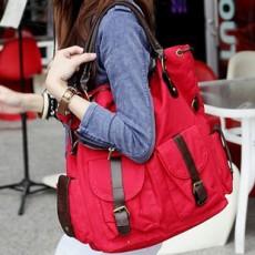 กระเป๋าสะพาย ข้างแฟชั่นเกาหลี ผู้หญิงผ้าคานวาสใบใหญ่ สวยขายดี นำเข้า สีแดง - พรีออเดอร์IS185 ราคา850บาท