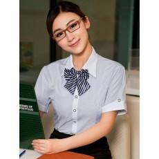 เสื้อเชิ้ตแขนสั้น ทำงานแฟชั่นเกาหลีผู้หญิงไซส์คนอ้วนใหญ่พิเศษ นำเข้า ไซส์S-5XL ลายทางสีฟ้า - พรีออเดอร์KD2611 ราคา1150บาท