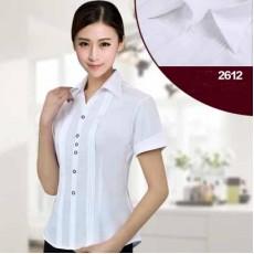 เสื้อเชิ้ตแขนสั้น ทำงานแฟชั่นเกาหลีผู้หญิงไซส์คนอ้วนใหญ่พิเศษ นำเข้า ไซส์S-5XL สีขาว - พรีออเดอร์KD2612 ราคา1150บาท