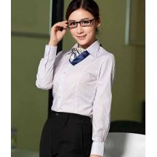 เสื้อเชิ้ตแขนยาว ทำงานแฟชั่นเกาหลีผู้หญิงไซส์คนอ้วนใหญ่พิเศษ นำเข้า ไซส์S-4XL สีขาวลายทางฟ้า - พรีออเดอร์KD3605 ราคา1150บาท