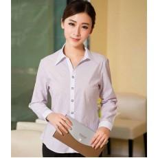 เสื้อเชิ้ตแขนยาว ทำงานแฟชั่นเกาหลีผู้หญิงไซส์คนอ้วนใหญ่พิเศษ นำเข้า ไซส์S-4XL สีขาวลายทางม่วง - พรีออเดอร์KD3610 ราคา1150บาท