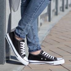 รองเท้าผ้าใบ แฟชั่นเกาหลีส้นเตี้ยใส่ได้ทุกคน นำเข้า ไซส์35ถึง43 สีดำ - พรีออเดอร์MA3012 ราคา850บาท